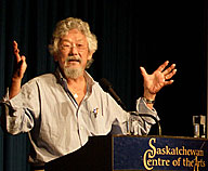 Dr. David Suzuki at the podium